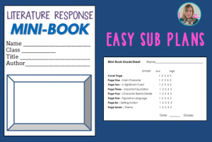 Substitute Plans for ELA - Mini-Book for Any Literature TeachingELAwithJoy.com