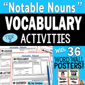 Vocabulary Activities - Notable Nouns